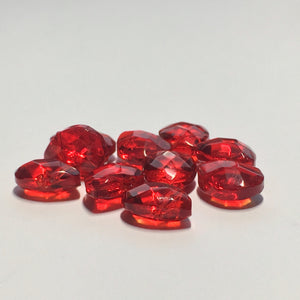 Transparent Ruby Red Glass Faceted Flat Teardrop Beads, 6 x 11 x 5 mm, 10 Beads