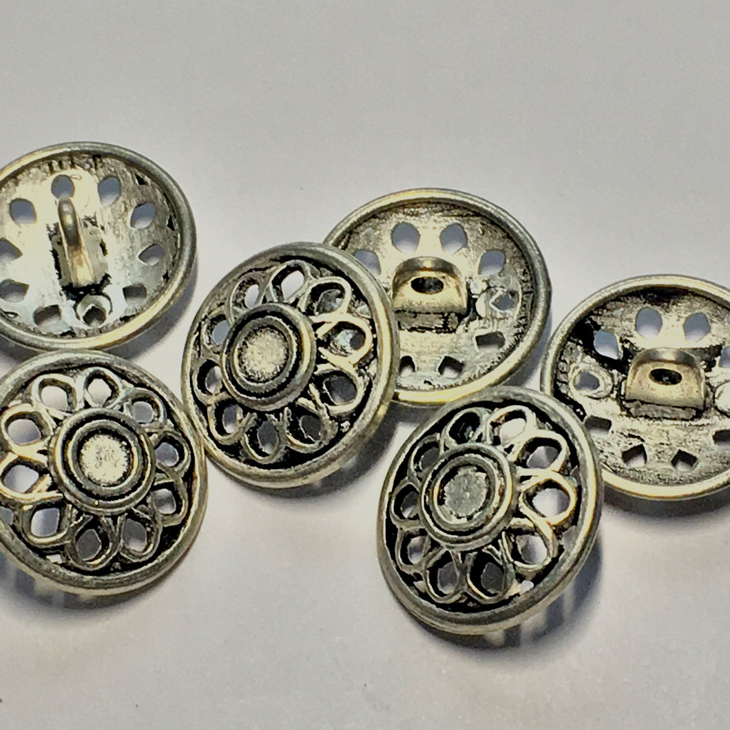 Antique Silver Flower Buttons, 17 mm With 5 mm Shank - 6 Buttons