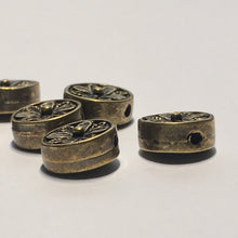 Load image into Gallery viewer, Antique Brass Metal Flower Coin Beads, 9 x 5 mm, 6 Beads