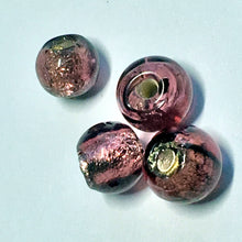 Load image into Gallery viewer, Dichroic Purple Lampwork Glass Round Beads, 5-6 mm - 5 Beads