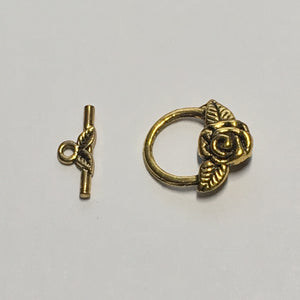 Antique Gold Rose Toggle Clasp, 17 mm