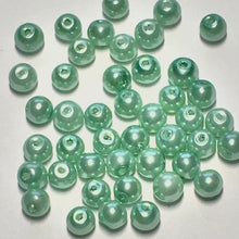Load image into Gallery viewer, Mint Green Pearl Acrylic Round Beads, 4 mm - 44 Beads