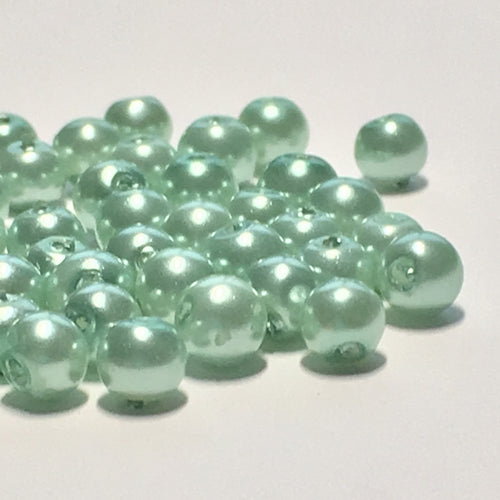 Mint Green Pearl Acrylic Round Beads, 4 mm - 44 Beads