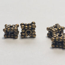 Load image into Gallery viewer, Antique Brass, Square Dotted Metal Spacer Beads, 3 x 5 mm, 4 Beads
