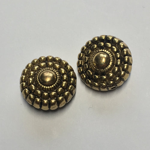 Vintage Antique Gold Metal Coin Beads, 17 x 9 mm, 2 Beads