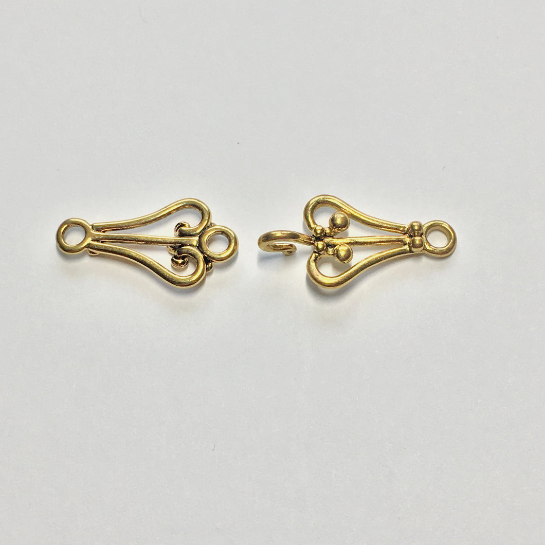 Gold Hook Clasp, Total Length 53 mm