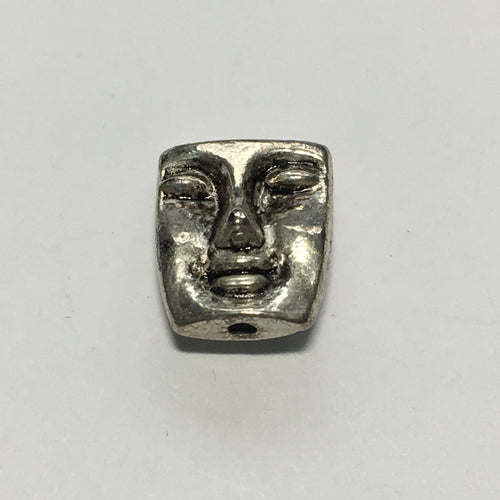 Antique Silver Face Charm / Bead, 12 x 10 mm