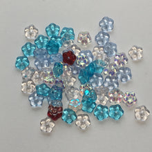 Load image into Gallery viewer, Czech Transparent Colored Pressed Glass Flower Rondelle Beads, 5 x 2 mm, 65 Beads