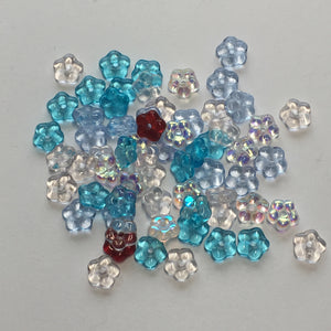 Czech Transparent Colored Pressed Glass Flower Rondelle Beads, 5 x 2 mm, 65 Beads
