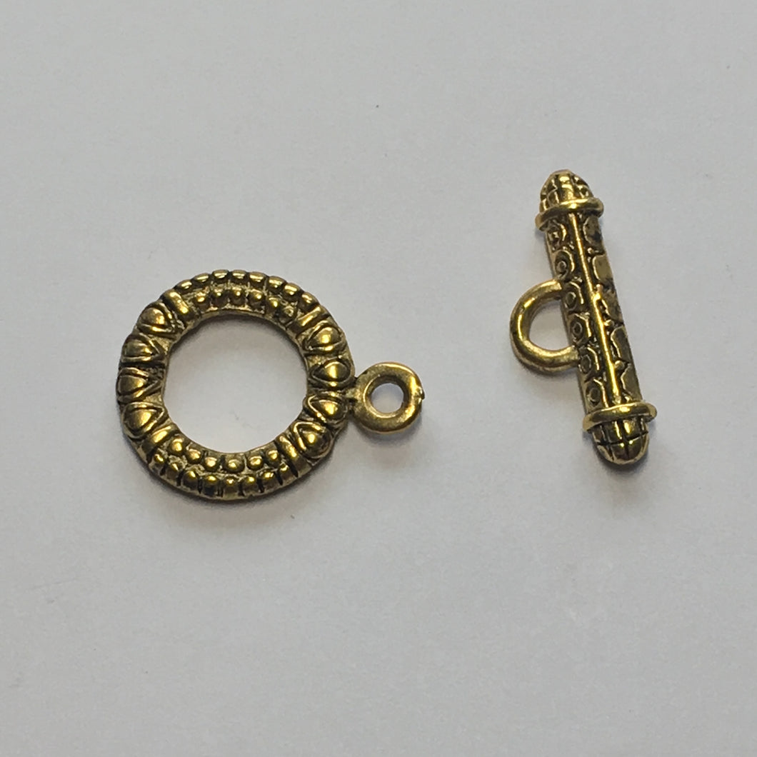 Antique Gold Bali Style Tibetan Toggle Clasp, 23mm
