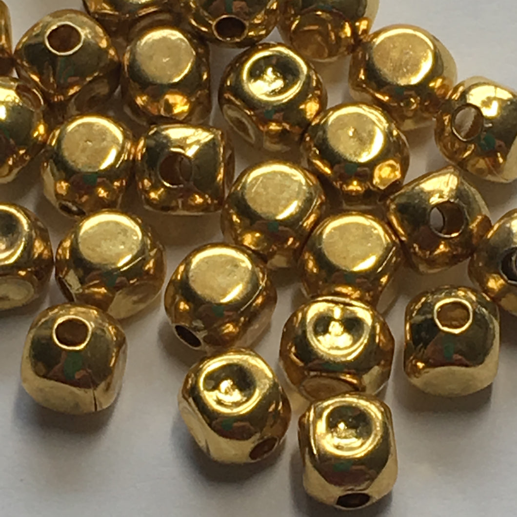 Bright Gold Finish Rounded Square, Some Dimpled, Metal Beads 5 x 5 mm - 30 Beads