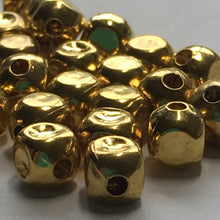 Load image into Gallery viewer, Bright Gold Finish Rounded Square, Some Dimpled, Metal Beads 5 x 5 mm - 30 Beads