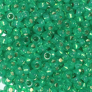 Miyuki M-11-646  # 11/0 Alabaster Lined Dyed Green Seed Beads - 5 or 10 gm