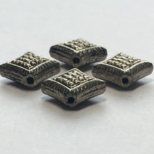 Load image into Gallery viewer, Antique Silver Dotted Diamond Beads, Hole on Point, 8 x 11 mm - 4 Beads