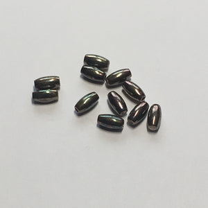 Metallic Silver Iris Oval Beads, 6 x 3 mm, 11 Beads