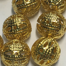 Load image into Gallery viewer, Gold Filigree Round Beads, 8 mm - 12 Beads