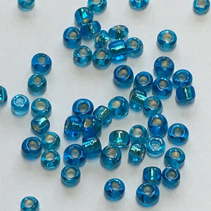 11/0 Silver Lined Dark Aqua Seed Beads 5 gm