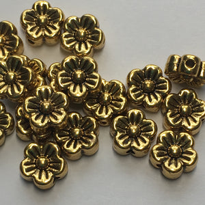 Antique Gold Finish Flower Beads, 7 x 3 mm - 18 Beads