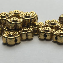 Load image into Gallery viewer, Antique Gold Finish Flower Beads, 7 x 3 mm - 18 Beads