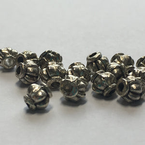 Antique Silver Lantern Beads, 4 x 4 mm - 15 Beads