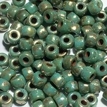 Matubo 63130-43400  - 8/0 Turquoise Green Picasso Seed Beads - 5 gm
