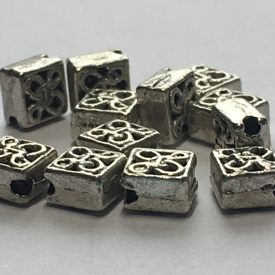 Antique Silver Celtic Diamond Beads, Hole on Point,  6 mm - 14 Beads