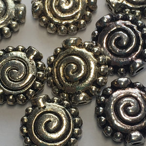 Antique Silver Spiral Saucer Metal Beads, 11 x 10 mm, 10 Beads