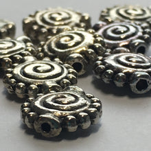 Load image into Gallery viewer, Antique Silver Spiral Saucer Metal Beads, 11 x 10 mm, 10 Beads