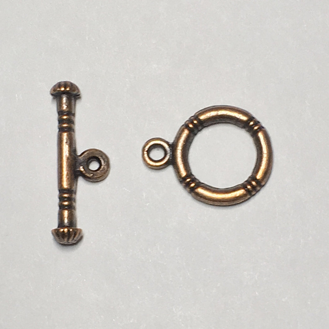 Copper Ringed Toggle Clasp,  20 mm