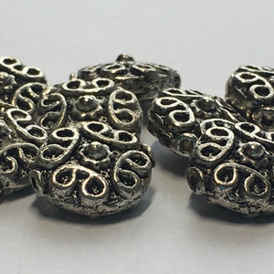 Antique Silver Loop Saucer Beads, 12 x 11 mm - 8 Beads