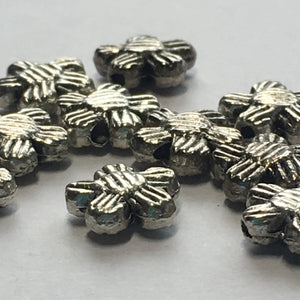 Antique Silver Grooved Flower Beads, 8 x 2 mm - 10 Beads
