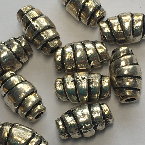 Antique Silver Crescent Roll Beads, 8 x 4 mm - 5 or 10 Beads