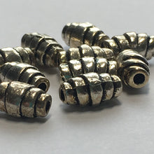 Load image into Gallery viewer, Antique Silver Crescent Roll Beads, 8 x 4 mm - 5 or 10 Beads