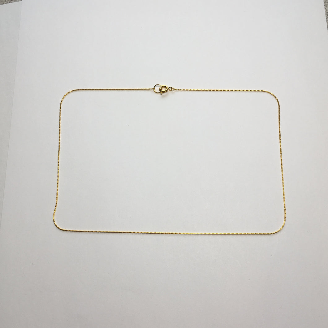 Gold Plated Fancy Chain Necklace, 14-Inch