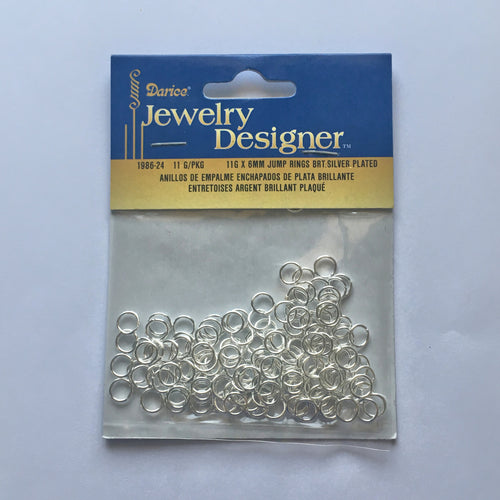 Darice Jewelry Designer Bright Silver Plated Jump Rings, 11G x 6 mm - 1986-24