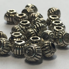 Load image into Gallery viewer, Antique Silver Lantern Beads, 5 x 4 mm - 25 Beads