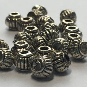 Antique Silver Lantern Beads, 5 x 4 mm - 25 Beads