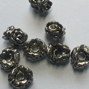 Antique Silver Bali Style Spacer Beads, 8 x 5 mm - 8 Beads