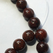 Load image into Gallery viewer, Bloodstone Semi-Precious Stone Round Beads, 8 mm, Strand of 28 Beads
