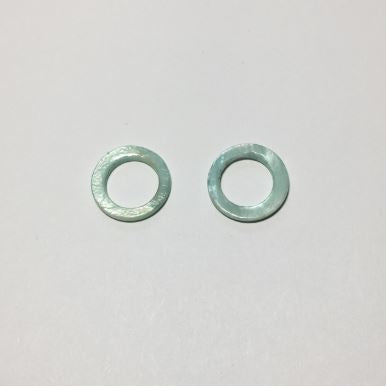 Blue Mother of Pearl Shell Rings - Center slightly offset 15 mm - 2 Rings