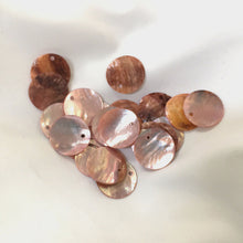 Load image into Gallery viewer, Light Pink Shell Coin Charms 16 mm - 30 Charms