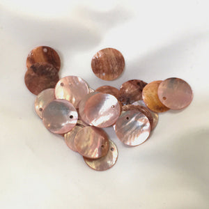 Light Pink Shell Coin Charms 16 mm - 30 Charms