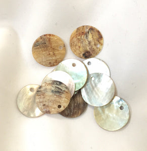 Natural Cream Shell Coin Charms 16 mm - 13 Charms