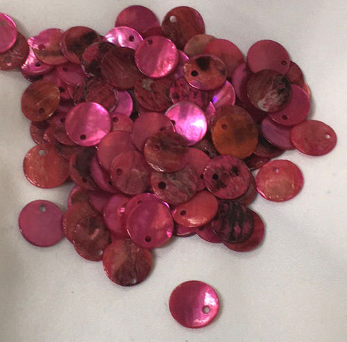 Pink Shell Coin Charms 10 mm - 20 Charms