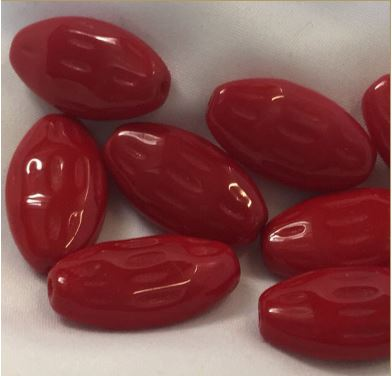 Opaque Red Almond Glass Beads, 20 x 7 x 3 mm - 9 Beads