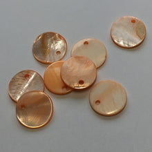 Load image into Gallery viewer, Orange Mother of Pearl Coin Charms 18 mm - 8 Beads