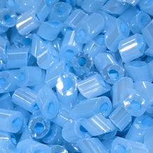 Load image into Gallery viewer, Color Lined Opaque Baby Blue Luster Slant Cut Glass Bugle Beads - 3 mm, 10 gm