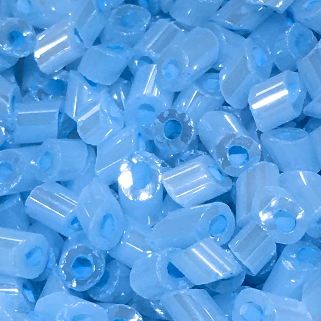 Color Lined Opaque Baby Blue Luster Slant Cut Glass Bugle Beads - 3 mm, 10 gm