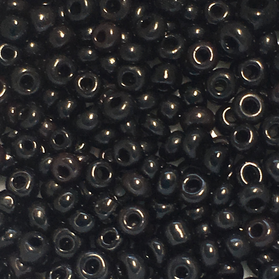 11/0 Opaque Black Jet Seed Beads, 5 gm