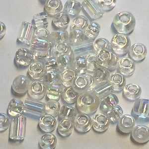11/0 & 8/0 Wedding MIX - Transparent AB Crystal, Translucent Crystal Luster, Transparent AB Crystal Bugles Seed Beads, 5 gm